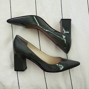 Marc Fisher grey patent block heels 6.5